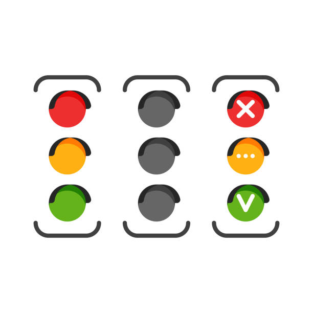 set of traffic light icons - stoplights stock illustrations, clip art, cartoons, & icons
