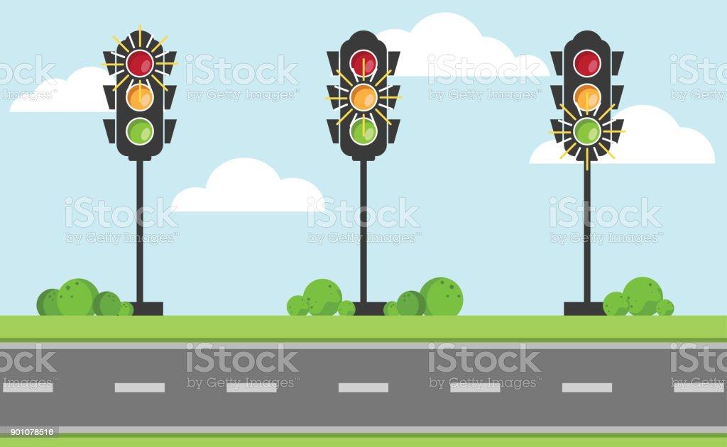青い空と興味の中心が付いている道に赤、黄、緑の色の信号機のセット ベクターアートイラスト