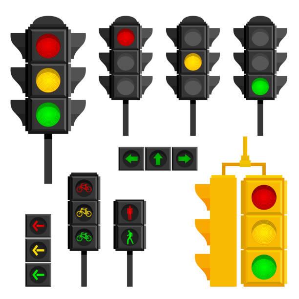 ilustrações, clipart, desenhos animados e ícones de conjunto de semáforos isolados em fundo branco - equipamento amarelo