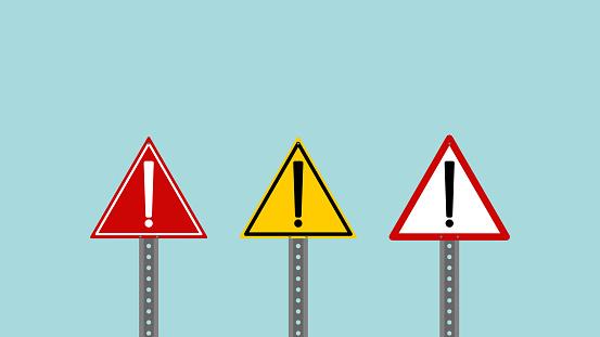 Set of traffic warning signs, exclamation mark, caution sign, danger, alertness, mistake, hazard sign, safety