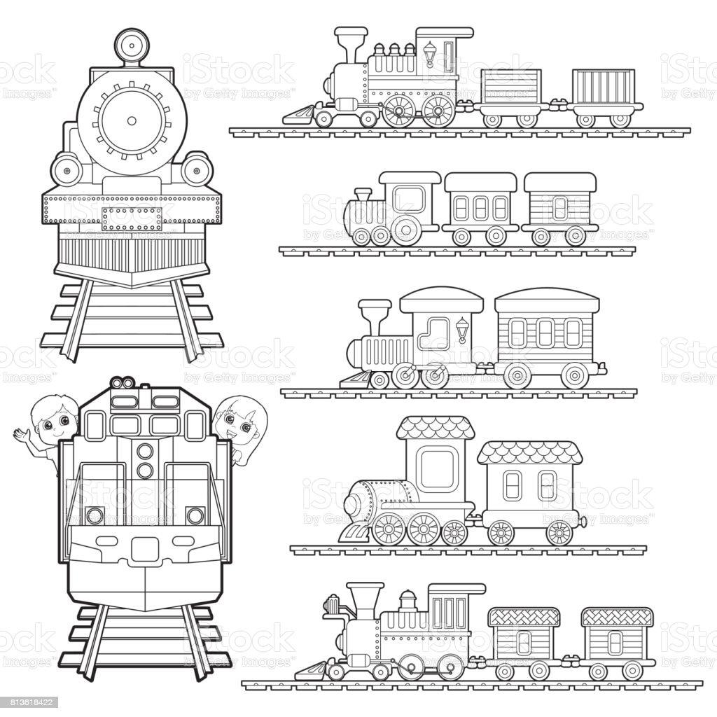 Ilustración De Conjunto De Dibujos Animados De Trenes Tren