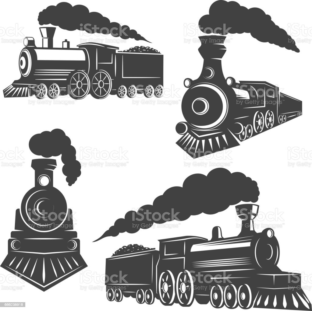 Set of trains icons isolated on white background. Design elements for logo, label, emblem, sign, brand mark. vector art illustration