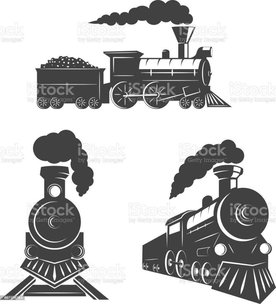 Set of trains icons isolated on white background. Design elements for logo, label, emblem, sign, brand mark. vector art illustration
