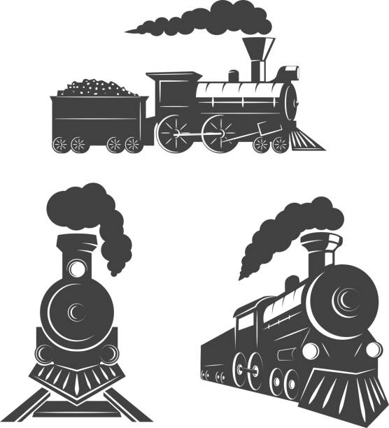 set of trains icons isolated on white background. design elements for logo, label, emblem, sign, brand mark. - train stock illustrations, clip art, cartoons, & icons