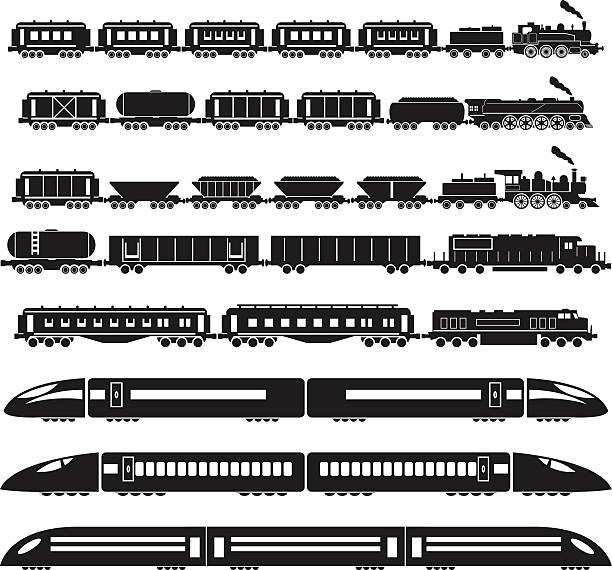 illustrations, cliparts, dessins animés et icônes de ensemble de trains - train