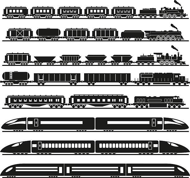 세트마다 교육 - 기차 실루엣 stock illustrations