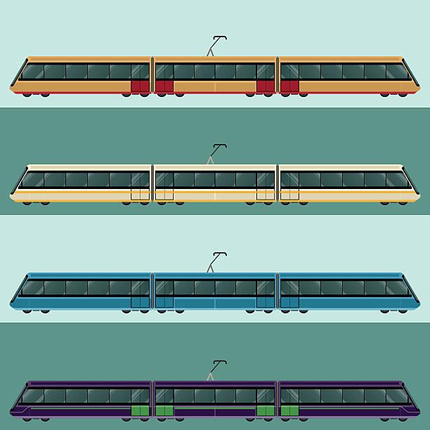 illustrazioni stock, clip art, cartoni animati e icone di tendenza di set di tramtrains - subway