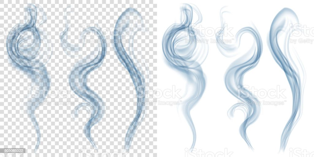 Set of translucent light blue smoke. Transparency only in vector vector art illustration