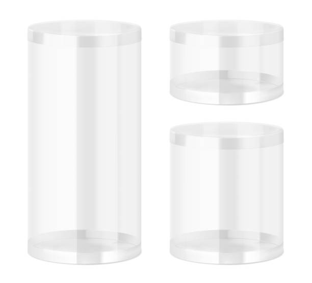 Set of translucent plastic jar with different proportions. Vector illustration on white background. Layered file, easy to use for food, gifts, candy. EPS10. cylinder stock illustrations
