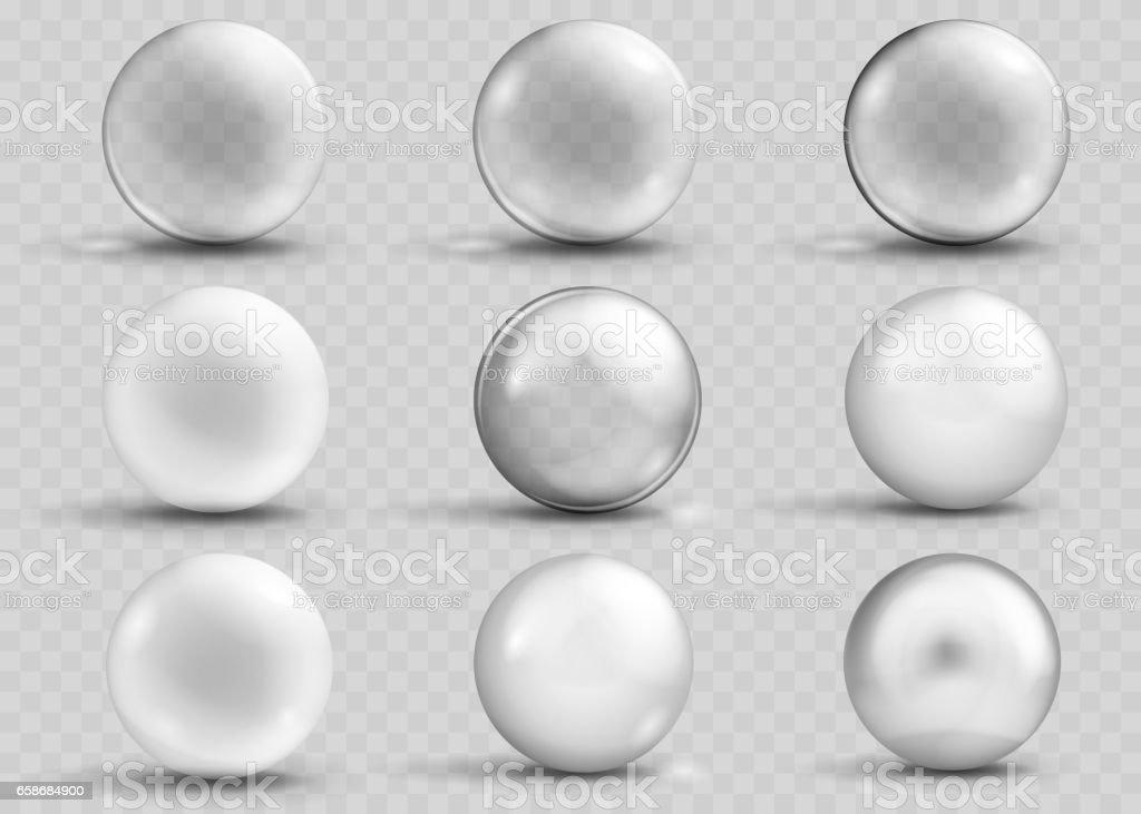 Set of transparent and opaque gray spheres with shadows - ilustración de arte vectorial