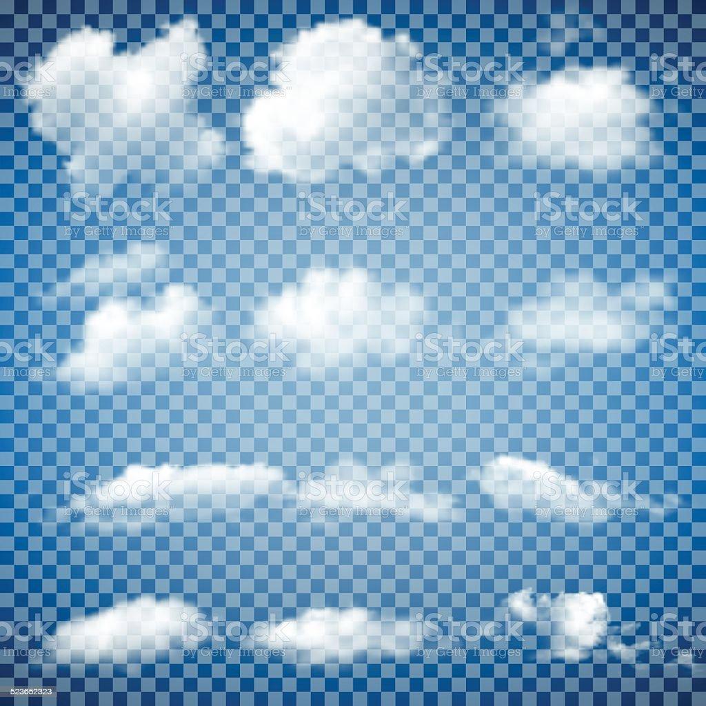 Set of Transparent Clouds vector art illustration