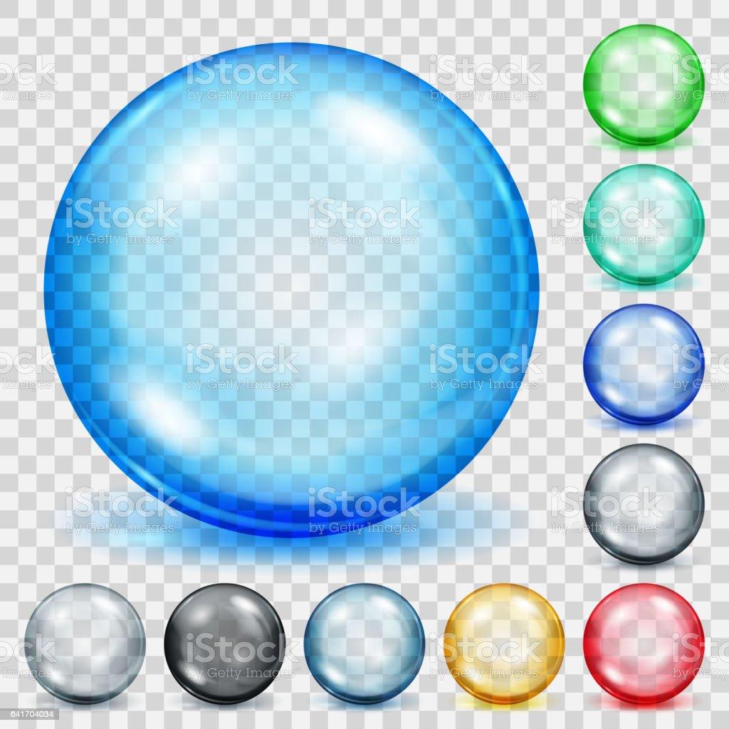 Conjunto de esferas transparentes coloreadas con sombras - ilustración de arte vectorial