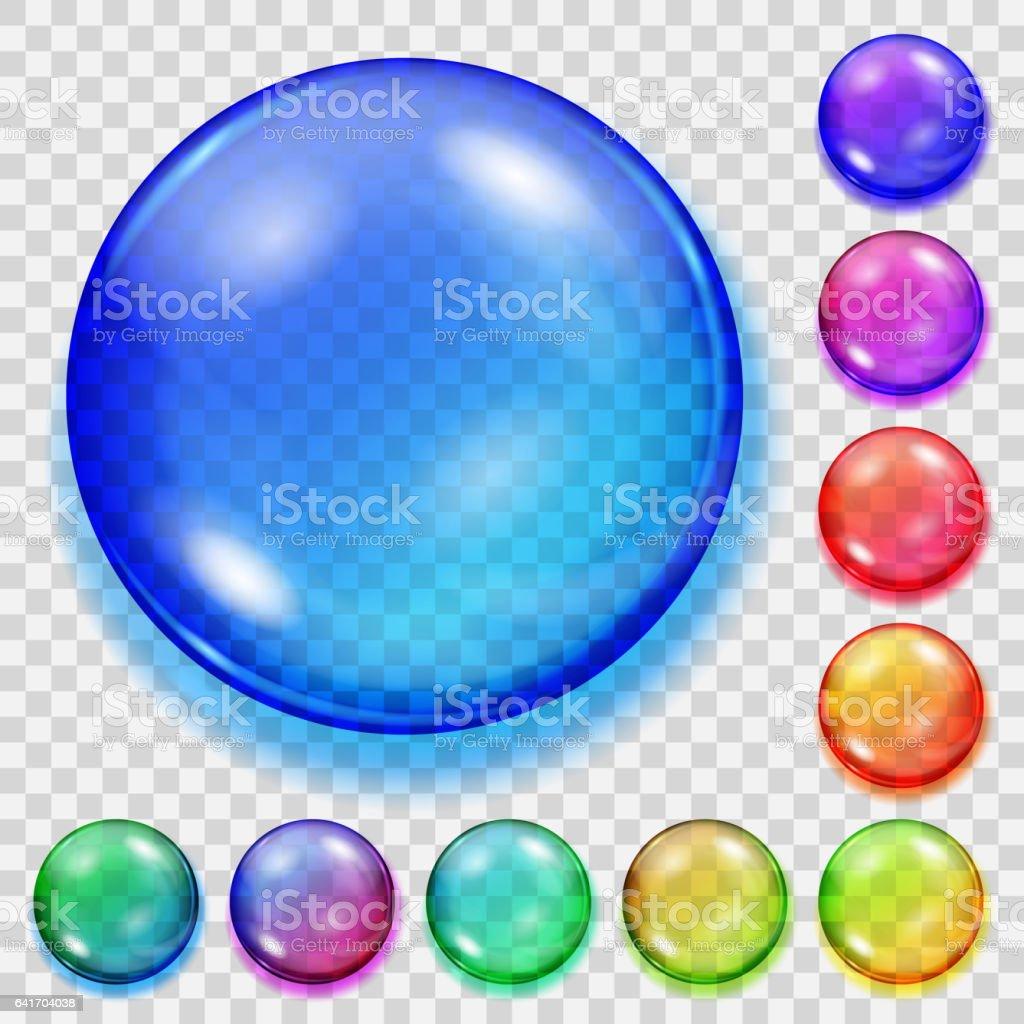 Set of transparent colored spheres with shadows - ilustración de arte vectorial