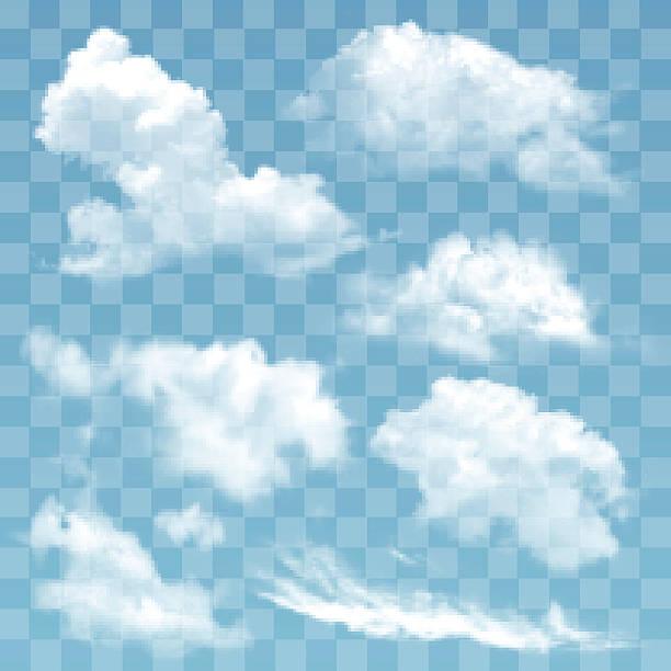 zestaw przezroczystych różnych chmur ilustracji wektorowej. - chmura stock illustrations
