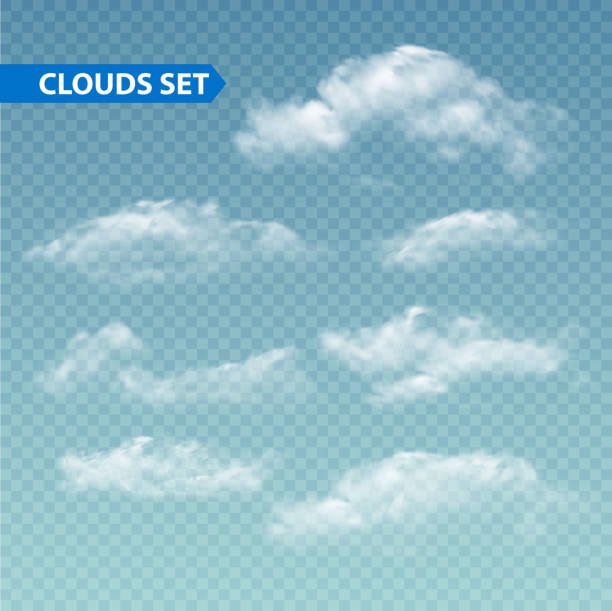 set of transparent different clouds. vector. - clouds stock illustrations, clip art, cartoons, & icons