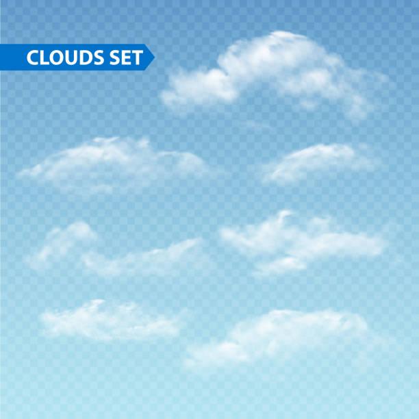 ilustrações, clipart, desenhos animados e ícones de conjunto de diferentes nuvens transparente. vetor. - texturas de riscos