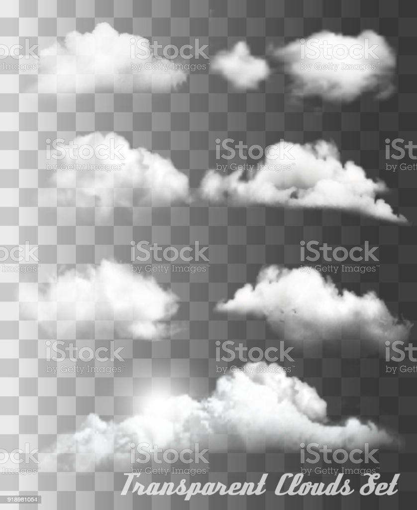 Set of transparent different clouds. Vector. royalty-free set of transparent different clouds vector stock illustration - download image now