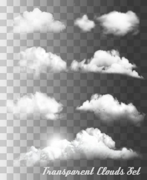 set of transparent different clouds. vector. - chmura stock illustrations