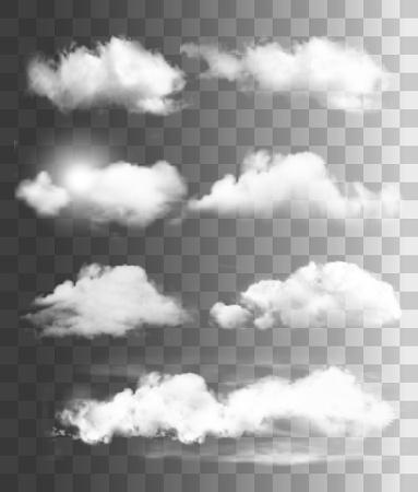 Set of transparent different clouds. Vector.