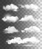 istock Set of transparent different clouds. Vector. 960393764
