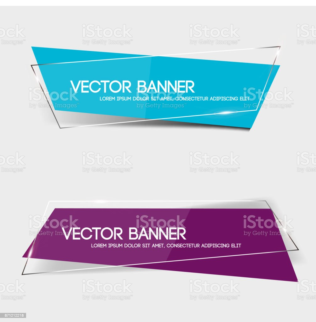 Set of transparent geometric vector banners vector art illustration