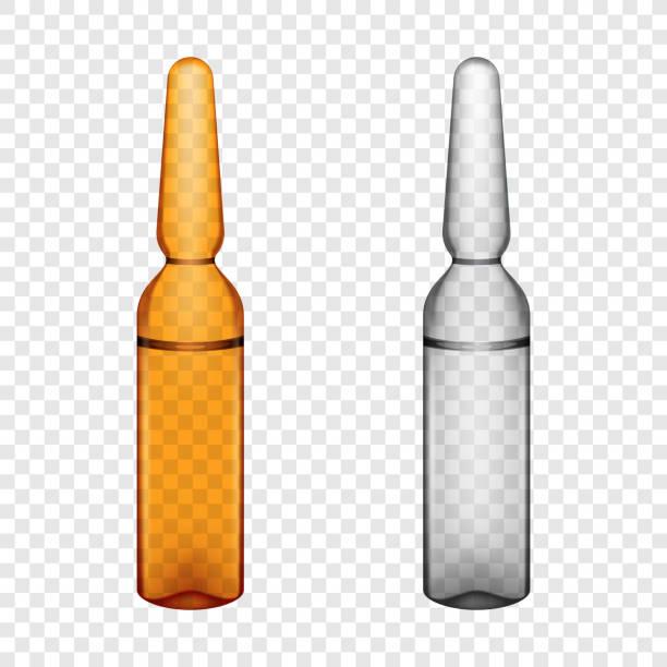 투명 유리 앰플 세트 - 앰풀 stock illustrations