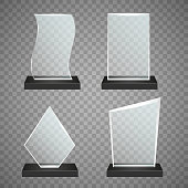 Vector illustration of glass trophy shapes template