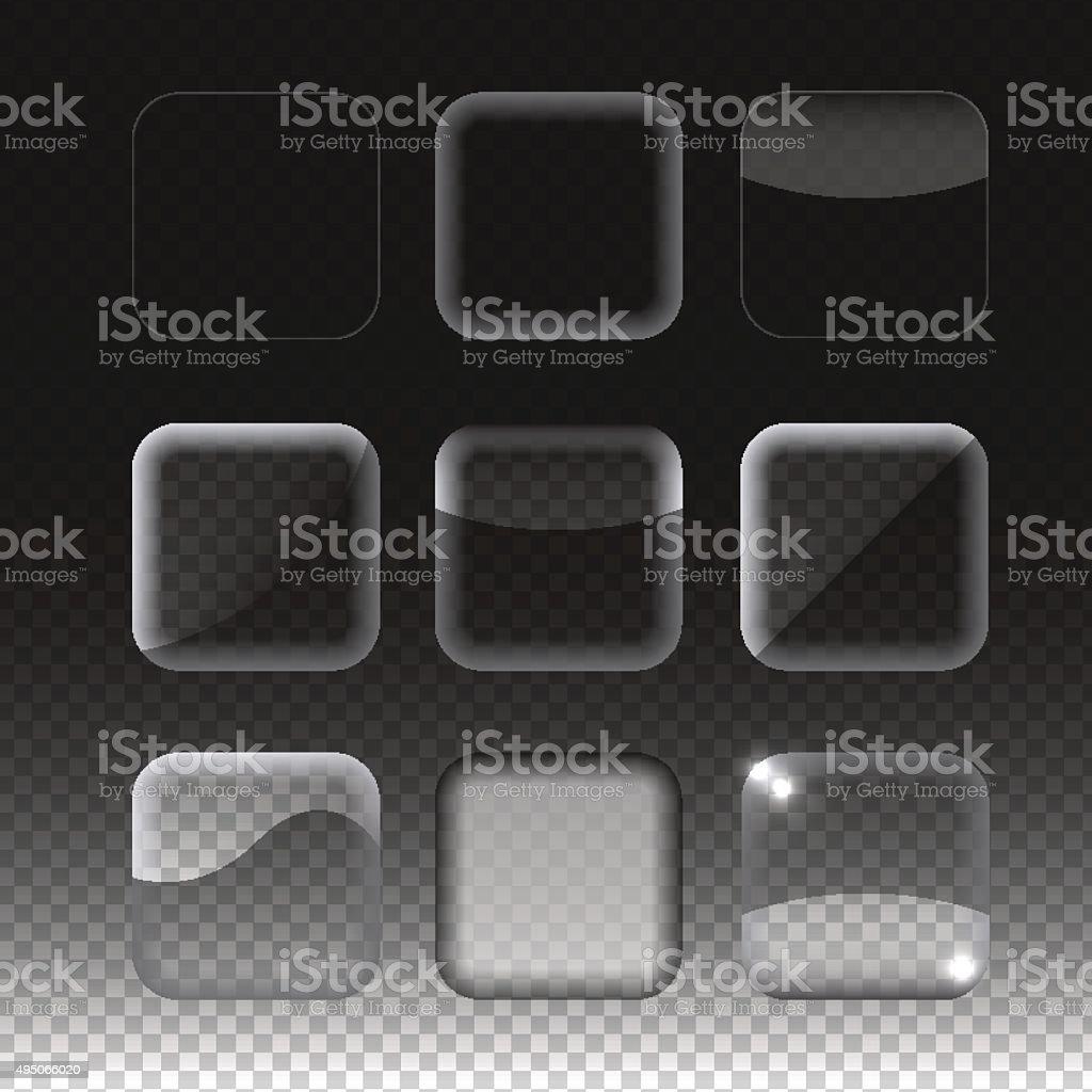 Set of transparent glass buttons. Vector illustration