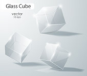 Set of transparent glass cubes in different angles. Geometric surfac. Rotate the cube. Vector illustration