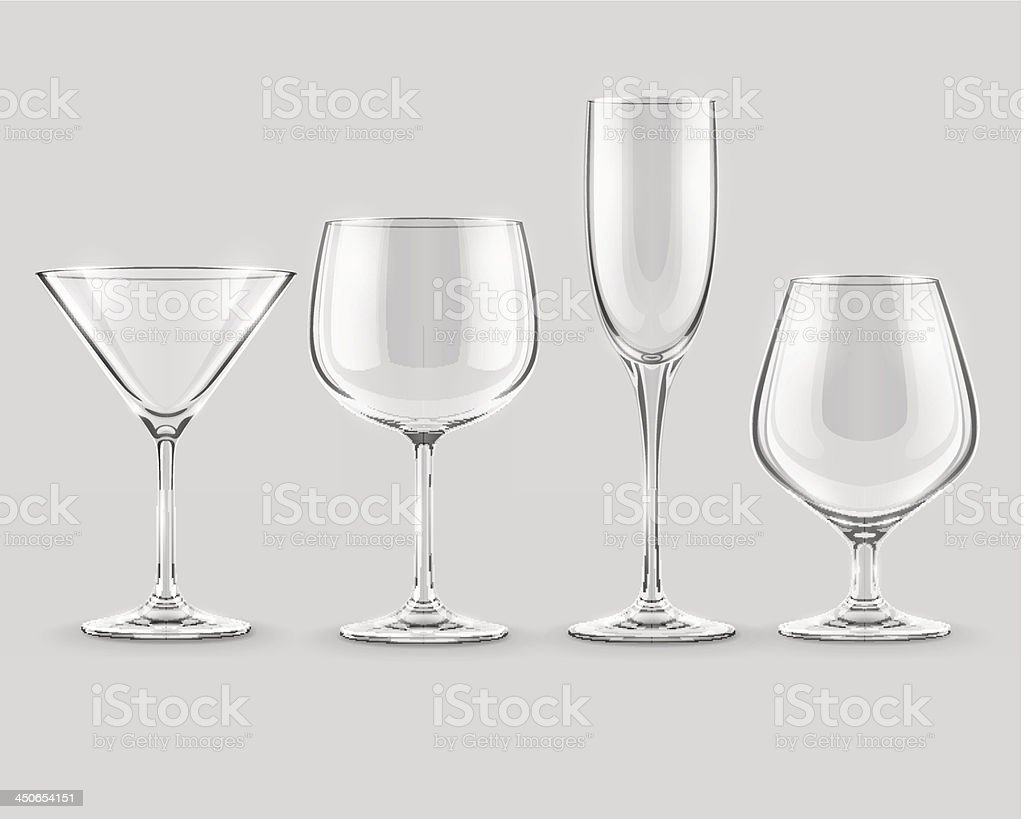 set of transparent glass goblets vector royalty-free stock vector art