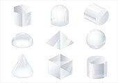 Set of glass forms of a pyramid, a hemisphere and a cube. Vector graphics with transparency effect