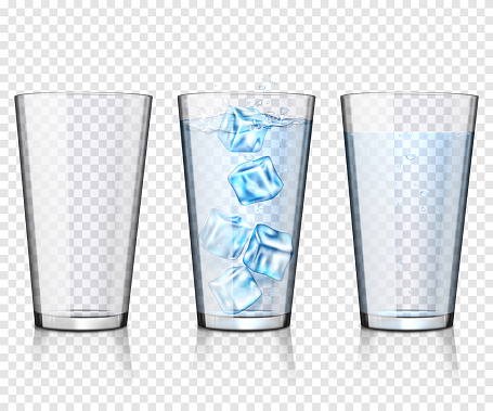 Set of transparent glasses empty and with water and ice, isolated.