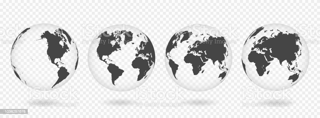 Carte Du Monde Realiste.Ensemble Des Globes Transparents De Terre Carte Du Monde Realiste En