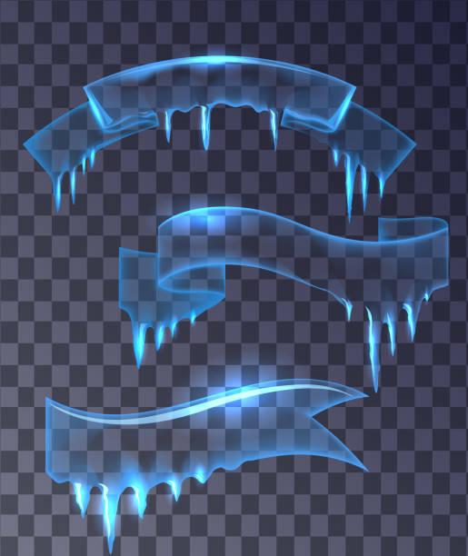 set of transparent ice banners ribbons. - eiszapfen stock-grafiken, -clipart, -cartoons und -symbole