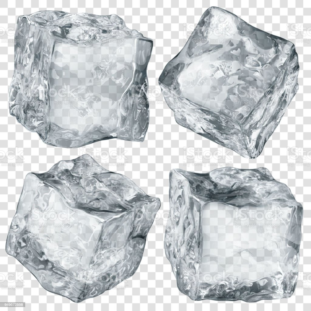 Set of transparent ice cubes
