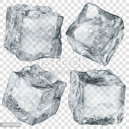 Set of four realistic translucent ice cubes in gray color isolated on transparent background. Transparency only in vector format