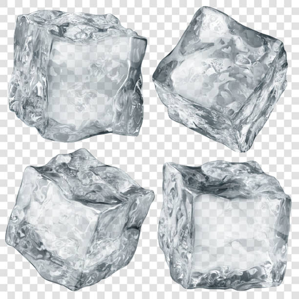 Set of transparent ice cubes Set of four realistic translucent ice cubes in gray color isolated on transparent background. Transparency only in vector format ice stock illustrations