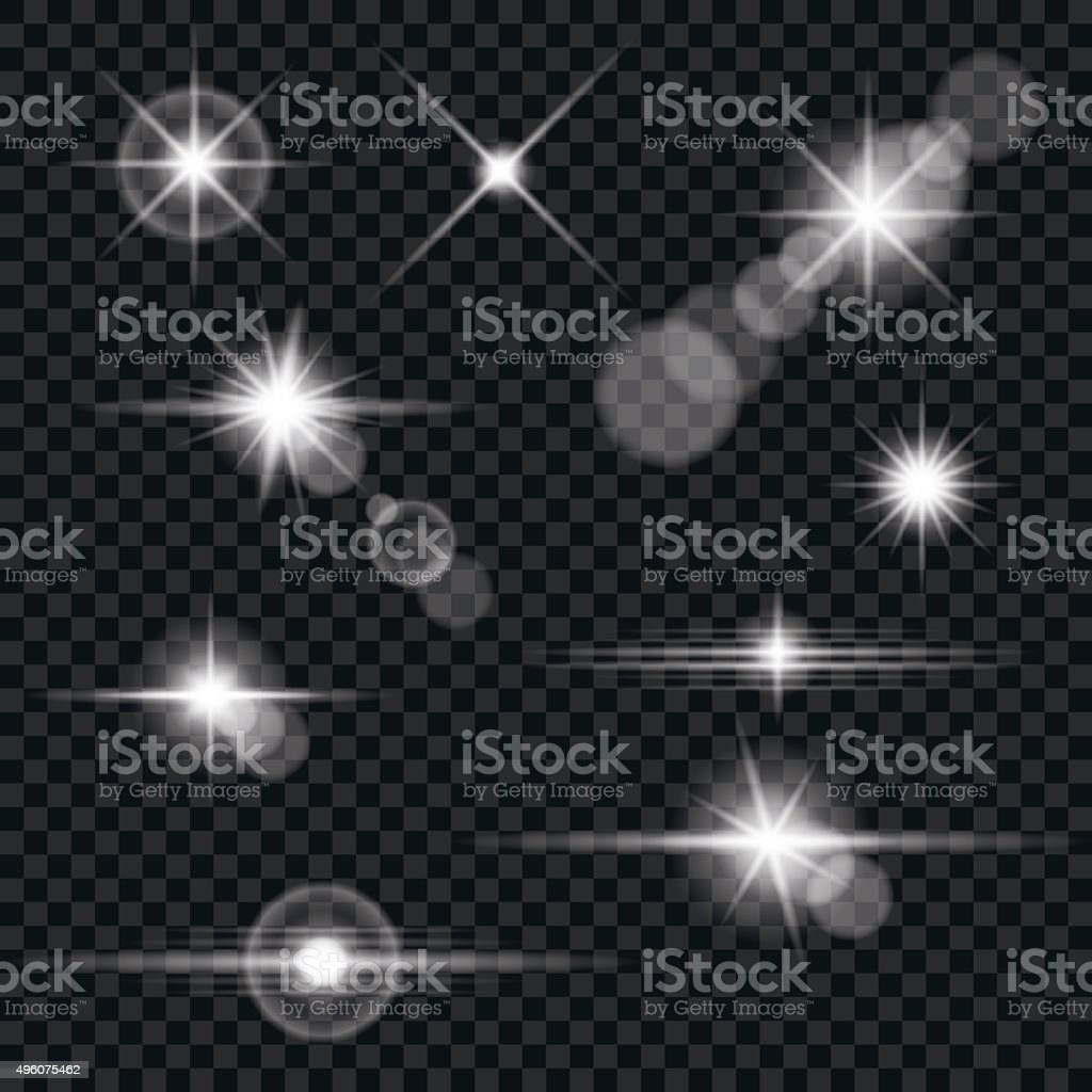 Set of Transparent Lens Flares and Lighting Effects vector art illustration