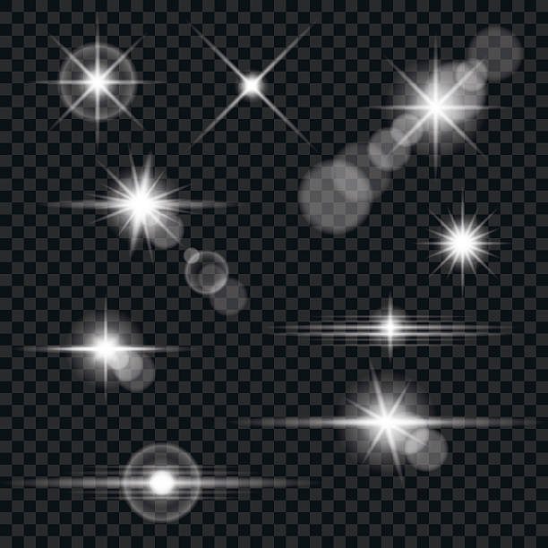 illustrazioni stock, clip art, cartoni animati e icone di tendenza di set di lenti trasparenti flare illuminazione e gli effetti - riflesso