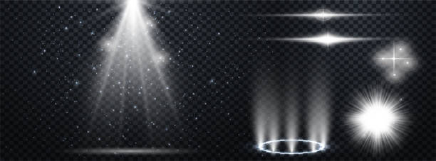 Set of Transparent Lens Flares and Lighting Effects. White spotlights.  Light Effects. Realistic falling snowflakes. Vector illustration Set of Transparent Lens Flares and Lighting Effects. White spotlights.  Light Effects. Realistic falling snowflakes. light natural phenomenon stock illustrations