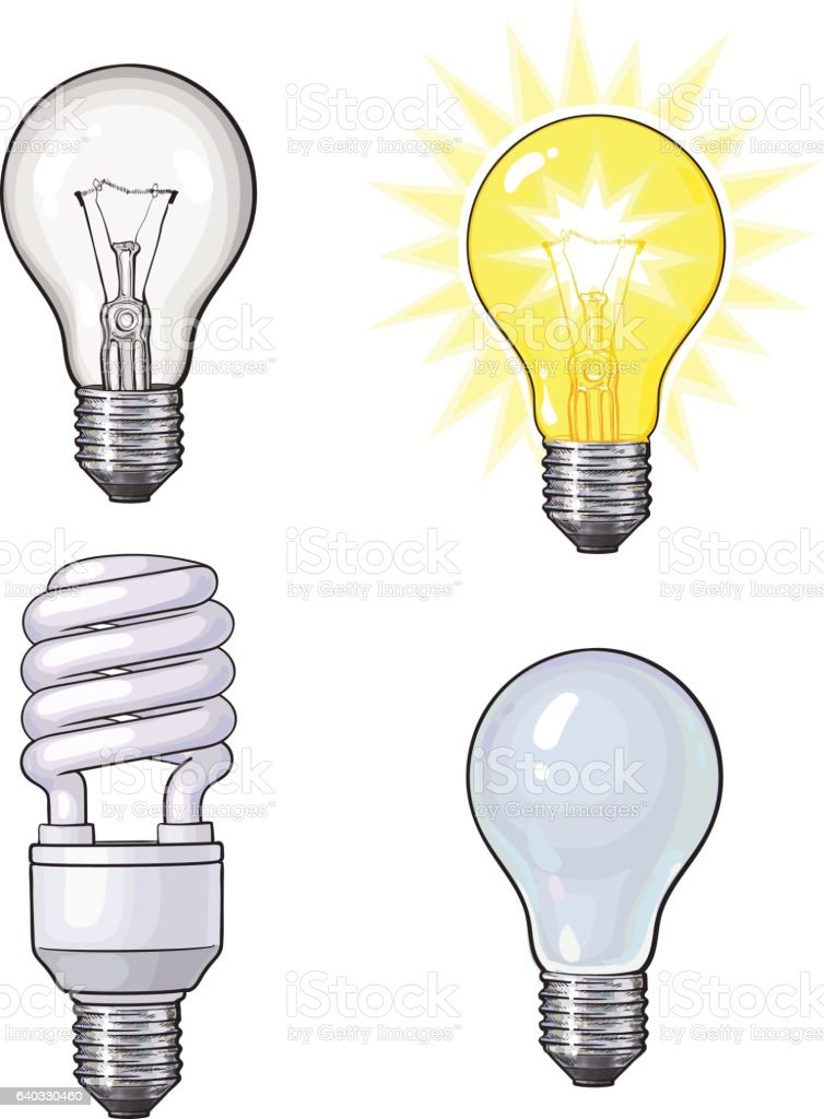 Set of transparent, opaque, glowing and energy saving light bulb vector art illustration