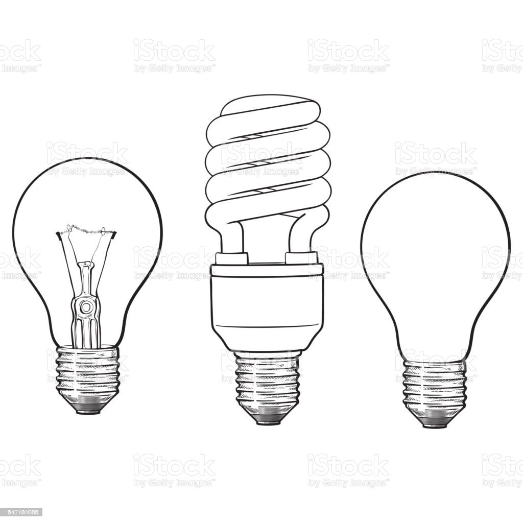 Set Of Transparent Opaque Glowing And Energy Saving Light Bulb Stock ... for Lamp Bulb Drawing  110yll
