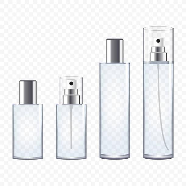 illustrazioni stock, clip art, cartoni animati e icone di tendenza di set of transparent perfume bottles on plain background - profumi spray