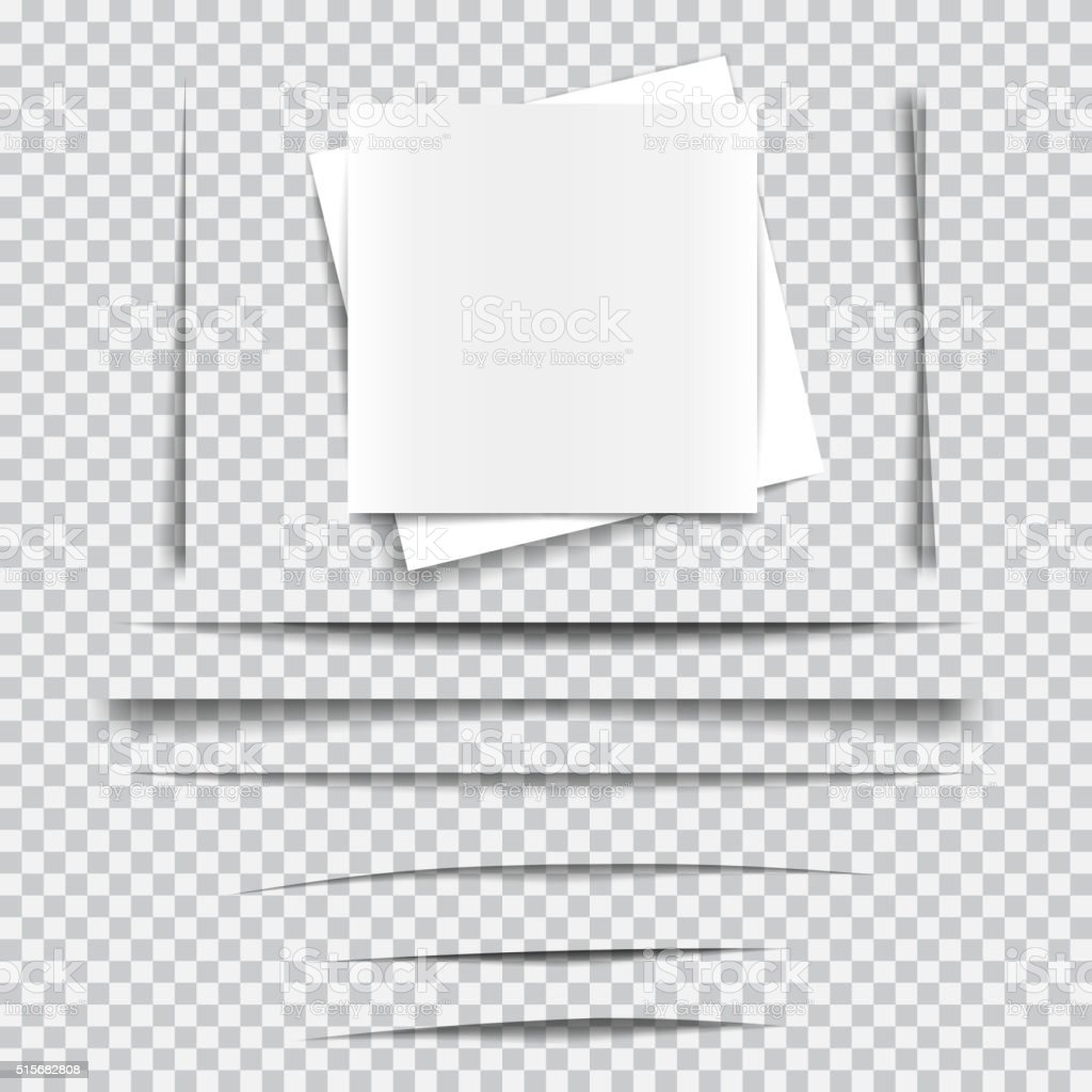 Set of transparent realistic paper shadow effects vector art illustration
