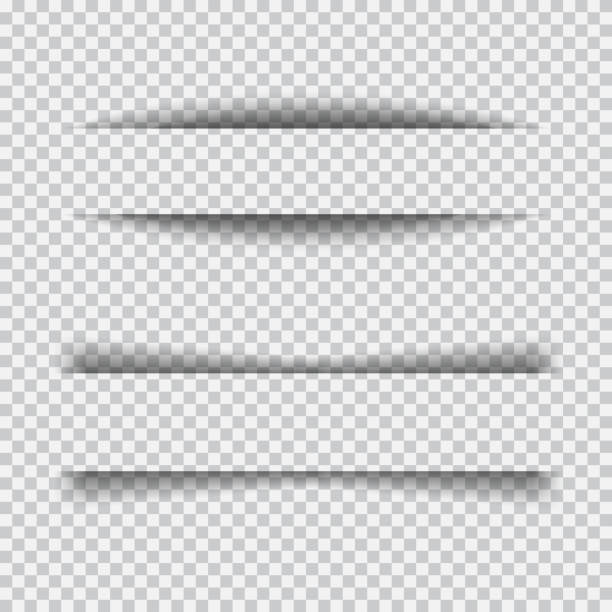 Set of transparent realistic paper shadow effects Transparent realistic paper shadow effect set. Web banner. Element for advertising and promotional message isolated on transparent background. Abstract vector illustration for your design and business focus on shadow stock illustrations