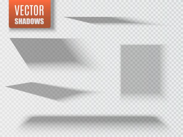 bildbanksillustrationer, clip art samt tecknat material och ikoner med uppsättning genomskinliga fyrkantiga skugga med mjuka kanter isoleras. vektor - skuggig