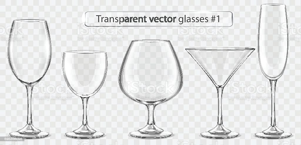 Set of transparent vector glass goblets for wine bar vector art illustration