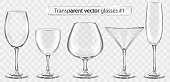 Set of transparent vector glass goblets for wine bar