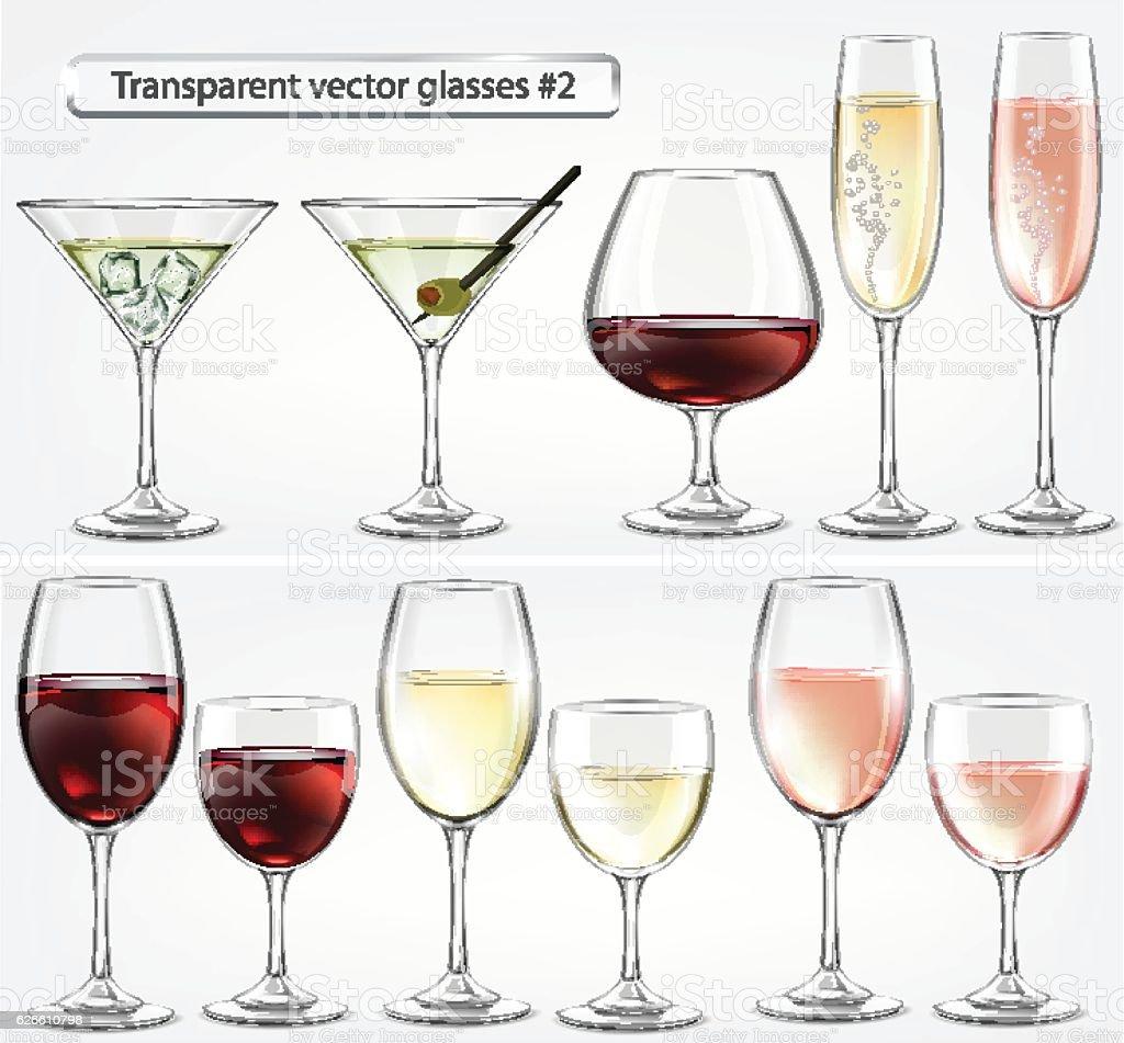 Set of transparent vector glass goblets for wine bar vector art illustration