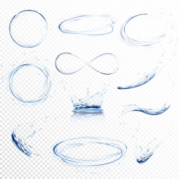 ilustrações de stock, clip art, desenhos animados e ícones de set of transparent water splashes, circles, whirlpools, drops and crown from falling into the water in light blue colors, isolated on transparent background. transparency only in vector file - water splash